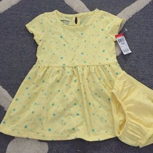 Sweet yellow sundress with blue stars & bloomers